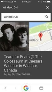 Tears for fears Sept 30 7pm   Caesars