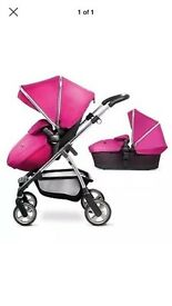 Silver Cross Wayfarer buggy with carrycot and parasol- raspberry