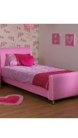 Girls faux leather single princess bed