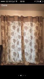 Beige floral curtains