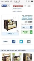Crib bedding. 6 pieces. Used for 2 weeks max