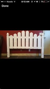 Gold/White Queen reclaimed solid wood headboard