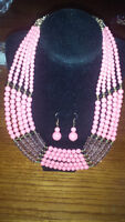 Light Pink and Gold Bead Necklace with Earrings