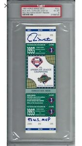 1993 Game 3 World Series ticket Blue Jays vs Phillies. Signed! Cornwall Ontario image 1