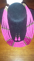 Pink and Gold Bead Necklace with Earrings