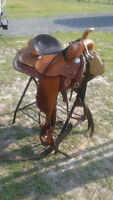 Western pleasure saddle, bridle and breastplate to match