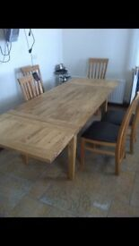 Ten foot oak table and chairs