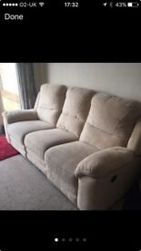 Lovely 3 seater and 2 single chairs 1 chair electric recline !