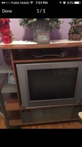 32 inch tube tv with entertainment center for sale