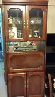 Cherry Wood Bar and Display Cabinet