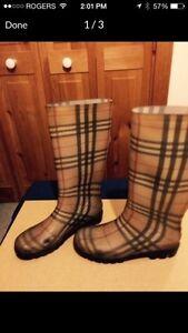 Authentic 350$ Burberry rain rubber boots bottes de pluie