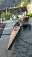 "Custom 17' 4"" hard chined Greenland wood kayak (reduced!)"