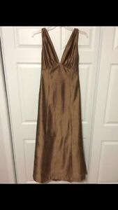 Long silk bronze dress