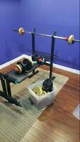 Bench Pressing Table & Dumbells