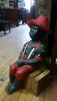 YARD ART/BLACK AMERICANA FISHING BOY STATUE/GARDEN DECOR