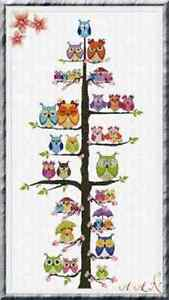 Alessandra Adelaide Needleworks OWL FAMILY TREE Counted Cross Stitch Pattern