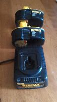 Dewalt charger and two batteries