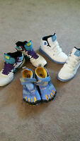 Hightop Sneakers and Vibrant 5 Finger Shoes Size 9/10