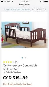 Orbelle Baby Toddler Bed and Mattress-Cherry