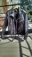 Mens Classic Real Leather Jacket Small - Lined, Belt, Hardware
