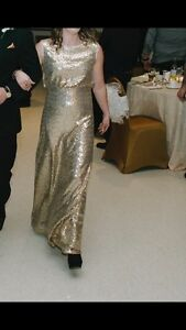 Long gold sequin dress