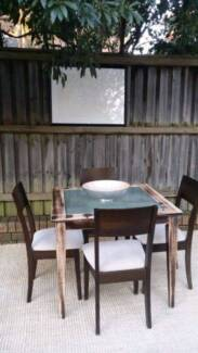 Small Solid Timber & Frosted Glass Dining Table & Four Chairs Se Coogee Eastern Suburbs Preview