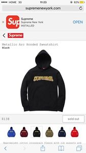 supreme Metallic Arc Hooded Sweatshirt Style: Black Size: Medium Cambridge Kitchener Area image 1