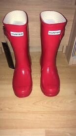 Brand New Red Gloss Hunter Wellies