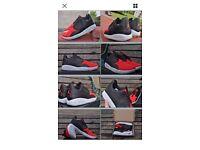 "New Men Boys Nike Air Jordan Eclipse Shoes ""Black/Red"" UK 9.5 Rosche Black Oreo"