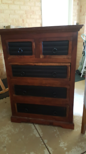 Lovely rustic Heavy sheesham timber tallboy chest,DEL. AVAILABLE Oakford Serpentine Area Preview