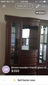 Beautiful solid wood dining room buffet & hutch
