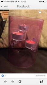 Pink glass tea light holder