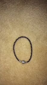 Purple leather pandora bracelet