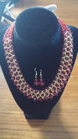 Red Bead Necklace with Earrings