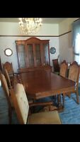 Solid Oak Dining Table, Chairs and Hutch Set