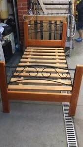 3x wooden single size bed with mattress