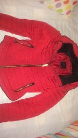 Red Zara winter coat - size xs - good condition - £40