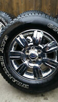 4 FORD F150 RIMS WITH GOODYEAR WRANGLER TIRES LT275/65/18