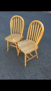 Two solid wood arched dining/kitchen chairs London Ontario image 2
