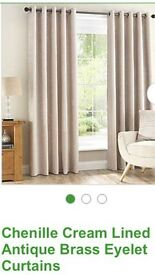 Chenille eyelet lined curtains