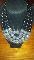 Black Crystal Bead Necklace with Earrings