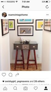 Industrial style card catalogue console entry table