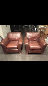 Genuine brown leather armchairs ( from marks and Spencer's )