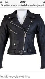 Ladies motorbike armoured leather jacket