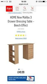 Argos Malibu 3 drawer Beech effect Desk £35 damaged packaging NEW