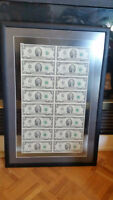 1976 $2 US framed uncut sheet