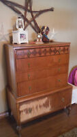 Beautiful wood antique dresser - perfect for painting