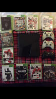 X-BOX 360 WITH CONTROLLERS AND GAMES