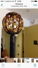 Curtain pole extends brown with gem balls on ends
