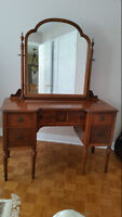 #1 . Antique table with mirror #2. Antique record player